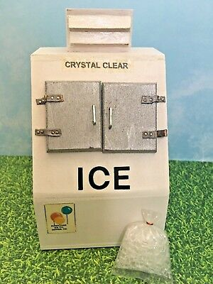 Dollhouse Miniature Ice Machine Bag of Ice Handcrafted Wood