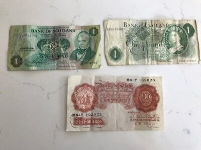 Bank Of England And Bank Of Scotland One Pound And 10 Shilling Notes