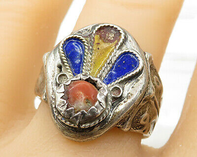 925 Sterling Silver - Vintage Antique Art Deco Coral Statement Ring Sz 10 R3636
