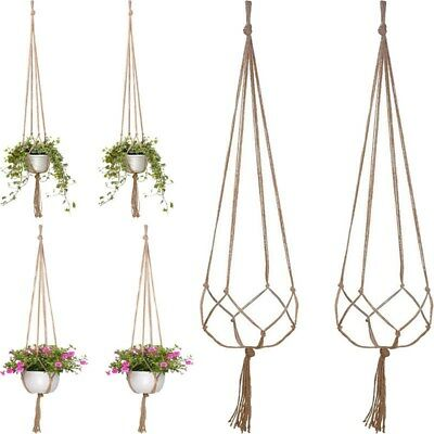 120cm String Net Decor Boho Natural Style Jute Macrame Flower Hanger for Hanging