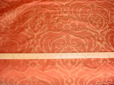 1Y Pierre Frey Rose Gold Silk Floral Damask Drapery Upholstery Fabric