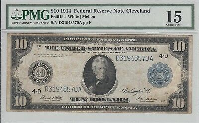$10 FEDERAL RESERVE NOTE FRN FR 919a PMG CHOICE FINE 15