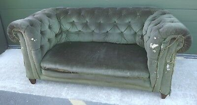 Antique Edwardian Button-Back Chesterfield Sofa Settee - For Restoration