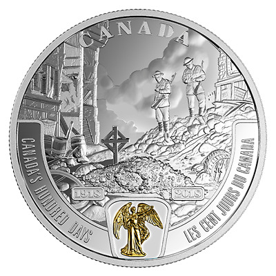 WWI BATTLEFRONT SERIES CANADA'S HUNDRED DAYS 2018 $20 1 oz Fine Silver Coin RCM