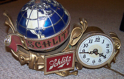 Vintage Schlitz Beer Sign Register Topper Clock Motion Spinning Globe Works