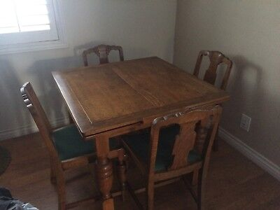 Nice 1920's Vintage English Draw Leaf Oak Pub Table  W/ 4 Matching Chairs