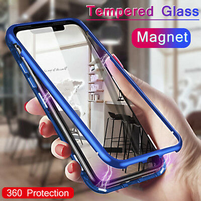 For IPhone XS MAX XR X  8 7 Plus Luxury Magnetic Metal Case+ Free Tempered Glass