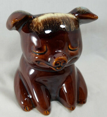 Vintage Piggy Bank Hull Pottery Usa 196 Corky Pig Sitting Turquoise Brown Drip