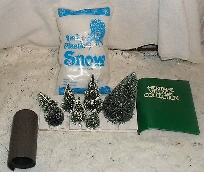 Lot Dept. 56 Frosted Trees, Roll Cobblestone & Pkg. Real Plastic Snow