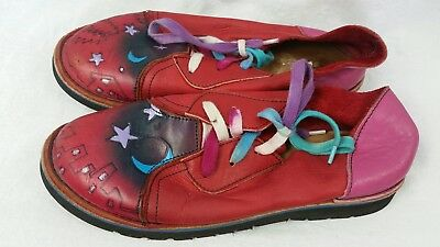Vintage Hand Crafted Handpainted leather Shoes Womens Sz 5 6 Red Art To Wear