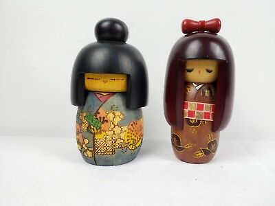Vintage Wood Kokeshi 2 Doll Set Japanese 5 in Tall No Reserve Free Shipping