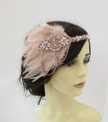 Nude Rose Gold Silver Ivory Pearl 1920s Flapper Headband Headpiece Gatsby 6248