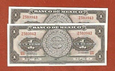 2 1970 Consecutive Serial Number Mexico One Peso Bank Notes Gem Uncirculated E02