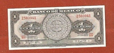 1970 Mexico One Peso Bank Note Gem Uncirculated Nice Crisp Bank Note E01
