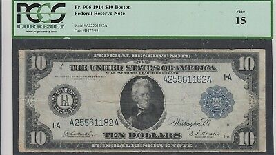$10 Frn Federal Reserve Note Fr. 906 Boston Pcgs 15