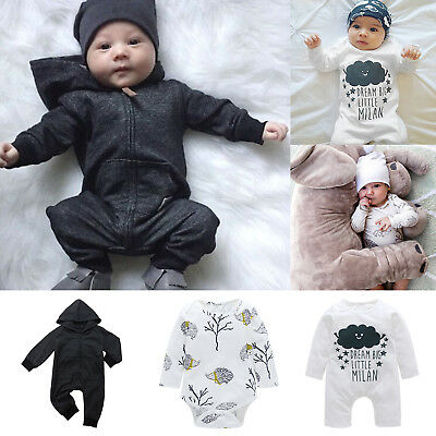 Infant Baby Kids Boy Girl Toddler Romper Jumpsuit Cotton Long Sleeve Clothes New
