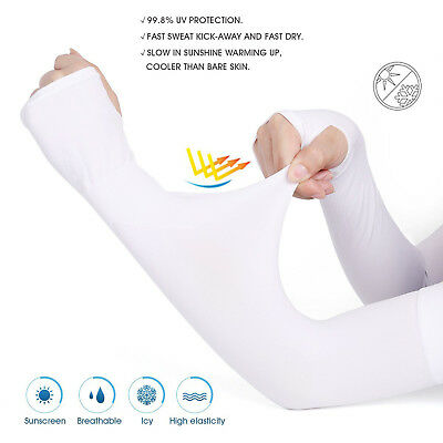 Unisex UV Protection Sleeves Long Arm Sleeves Cooling Sleeves Ice Silk Arm Cover