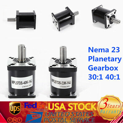 Planetary Geared Speed Reducer NEMA23 Gearbox Ratio 30 / 40:1 Reduction 57mm
