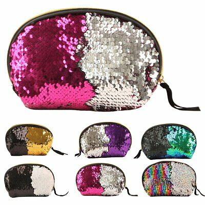 Fashion Women Sequin Makeup Bag Reversible Glitter Cosmetic Pouch Party Handbag
