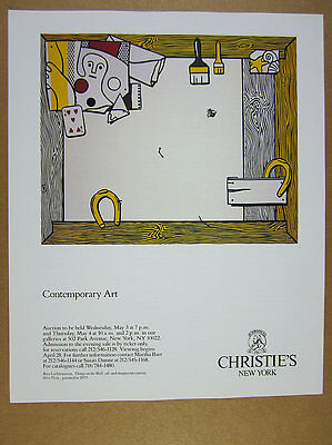1989 Roy Lichtenstein 'things on the wall' painting Christie's vintage print Ad