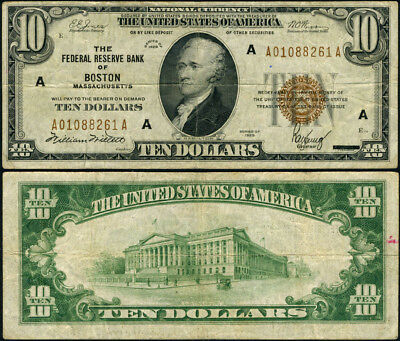 FR. 1860 A $10 1929 Federal Reserve Bank Note Boston A-A Block Fine+