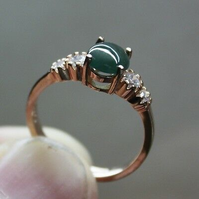 Size 6 1/4 ** CERTIFIED Natural (A) Green Jadeite JADE Ring 925 Silver #R142