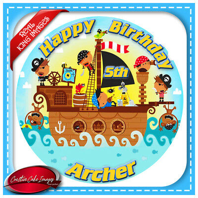 Pirate Ship Edible Cake Topper Icing Image Birthday Party Decoration