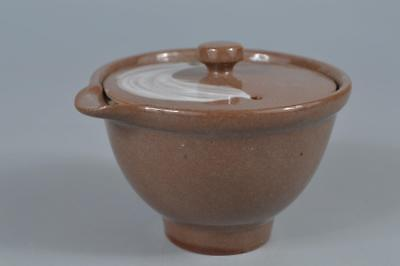 R2246: Japanese Kiyomizu-ware glay glaze Brush marks pattern TEA POT Houhin