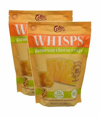 2 Pack Cello Artisan Cheese Makers WHISPS Pure Parmesan Cheese Crisps, 9g of ...