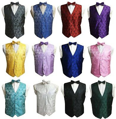Men's Adult Paisley Waistcoat Vest and Bowtie Set For Suit UK Christmas Gift