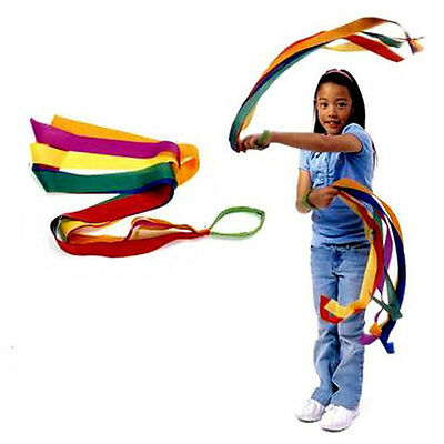 1X Handheld Rainbow Dance Ribbon Stage Props Toys for Children Multi Colored HXJ