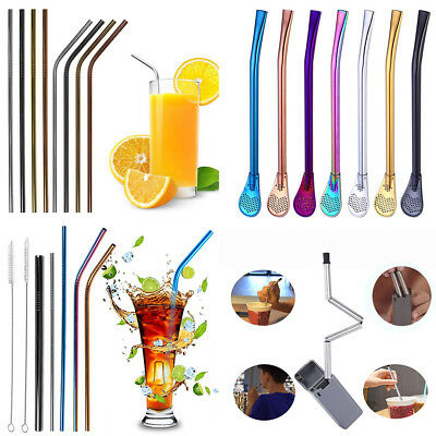 Premium Stainless Steel Metal Drinking Straws Reusable Cocktail Bar Party Straw