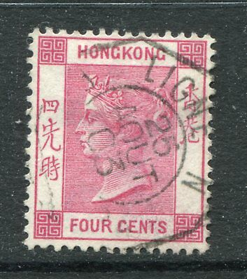 Old China Hong Kong GB QV 4c stamp Fine Used with French Mailboat Octagon Pmk