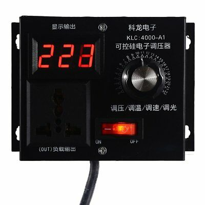 220V 4000W Variable Voltage Controller For Fan Speed Motor Control Dimmer Kit