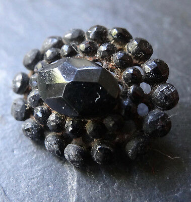 antique Victorian 18mm french jet black glass oval flower button -A127