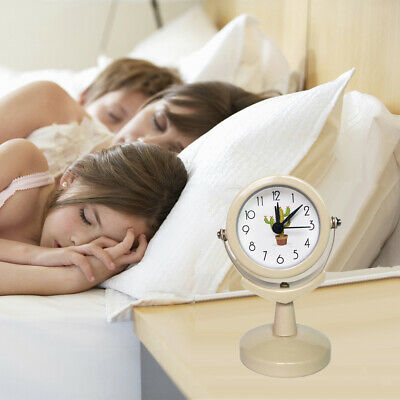 Home Office Small Round Clock Silent Desk Alarm Clock Kids Room Bedside Time