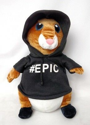 "Mint Awesome HAMSTER in #EPIC Black HOODIE PLush Stuffed 10"" EPIC Urban Slang"