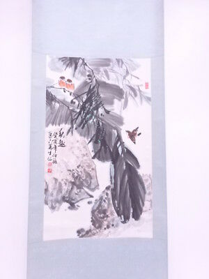 3794356: Chinese Wall Hanging Scroll / Hand Painted / Bamboo & Sparrow