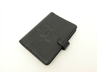 CHANEL CC Authentic CAVIAR Leather Black Agenda Diary cover Auth