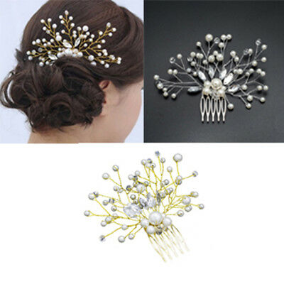 Women rhinestone pearl hair comb hair clip bridal wedding hair accessories FT