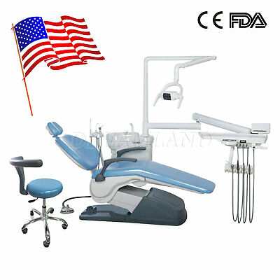 US Ship Dental Unit Chair Computer Controlled With Stool A1 Hard Leather FDA CE