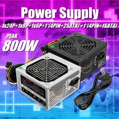 AU 800W Watt Power Supply PSU PFC Silent Fan ATX 24-PIN PC Computer Gaming NEW