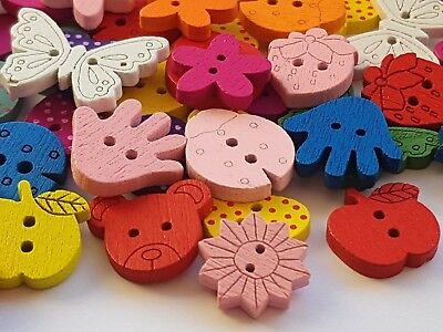 20 Mixed Bright Wooden CRAFT SEWING BUTTONS Assorted Shapes & Sizes - scrapbook