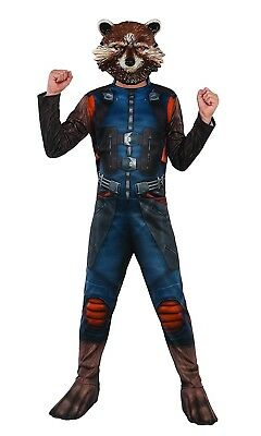 Official Boys Rocket Raccoon Guardians Of The Galaxy Fancy Dress Costume Outfit