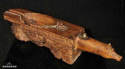 Large Antique Indian / S.E. Asian Carved Wood Temple Oil Lamp