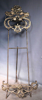 Antique ORNATE BRASS Art Nouveau POPPY Picture Frame Easel Painting Display