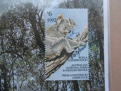 1992 Australian Koala Conservation Stamp James Luck Signed Limited Edition Rare!