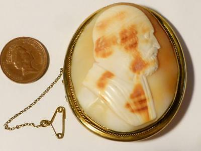 Antique 19thC Cameo Brooch Classic  Portrait Large size fine carving
