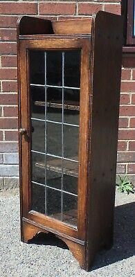 Arts Crafts antique solid oak leaded glazed Liberty Caxton type library bookcase