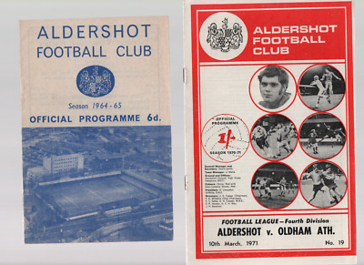Aldershot HOME programmes mainly 1950's to 1980's League and Cup PART TWO